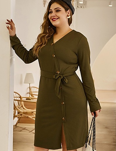 cheap Plus Size Dresses-Women's Sweater Jumper Dress Knee Length Dress - Long Sleeve Solid Color Split Button Fall V Neck Sexy Vacation Plus Size Weekend Slim 2020 Green L XL XXL 3XL 4XL