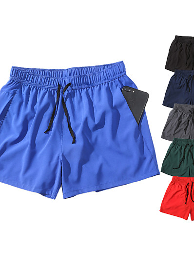 cheap Running, Jogging & Walking-Men's Running Shorts Athleisure Bottoms Elastic Waistband Drawstring with Side Pocket Fitness Gym Workout Running Jogging Training Breathable Quick Dry Soft Sport Solid Colored Black Blue Red Dark
