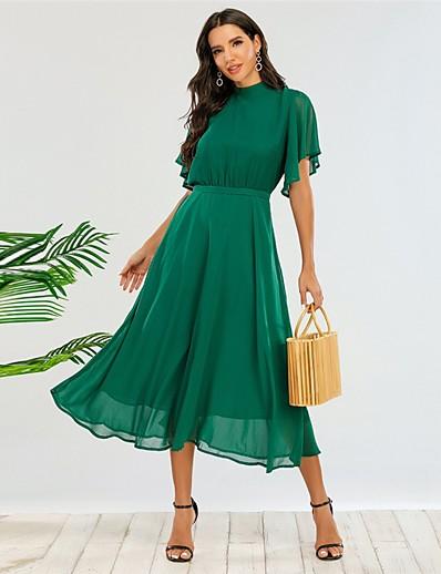 cheap Party Dresses-Women's A-Line Dress Midi Dress - Half Sleeve Solid Color Fall Elegant Party 2020 Green L XL 3XL 4XL
