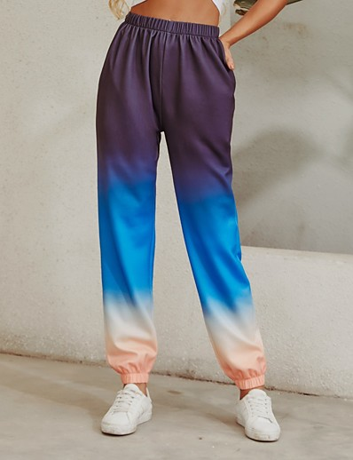 cheap Bottoms-Women's Sporty Breathable Loose Daily Sweatpants Pants Multi Color Full Length Sporty High Waist Rainbow