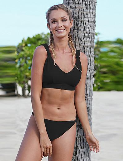 cheap Plus Size Swimwear-Women's Plus Size Sexy Bikini Swimsuit Knotted Solid Colored Deep V Swimwear Bathing Suits Black Blushing Pink Green / Padded Bras