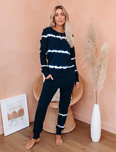 cheap JUMPSUITS & ROMPERS-Women's Basic Tie Dye Two Piece Set Crew Neck Sweatshirt Pant Loungewear Tops