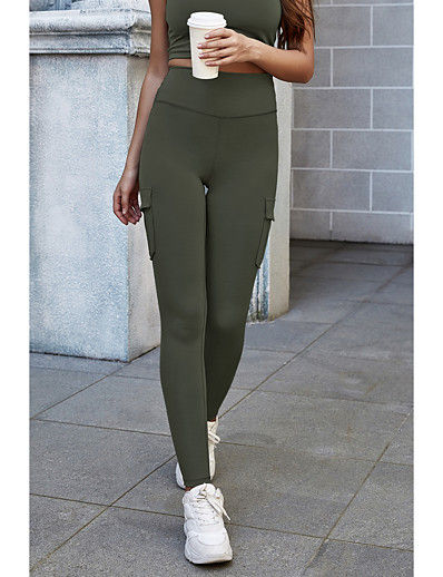 cheap Bottoms-Women's Sports Skinny Tights Sweatpants Pants Solid Colored Full Length High Waist Black Purple Army Green