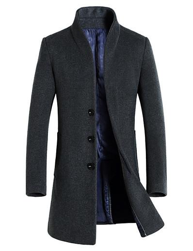 abordables Hommes-Homme Boutonnage Simple Manteau Longue Couleur Pleine Quotidien Basique Noir Vin Kaki L XL XXL