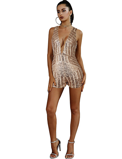 cheap Jumpsuits & Rompers-Women's Basic V Neck Gold Slim Romper Striped Color Block Sequins