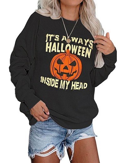 cheap Hoodies & Sweatshirts-Women's Halloween Pullover Sweatshirt Pumpkin Halloween Hoodies Sweatshirts  Loose White Black Dark Gray