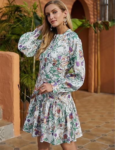 cheap 2021 Trends-Women's A Line Dress Short Mini Dress Green Long Sleeve Floral Ruffle Print Fall Winter Round Neck Casual Going out Lantern Sleeve 2021 S M L XL