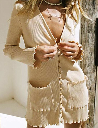 cheap Sweater Dresses-Women's Sweater Jumper Dress Short Mini Dress - Long Sleeve Pocket Fall Winter V Neck Sexy Slim 2020 Beige S M L