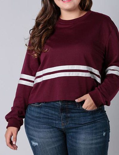 cheap Plus Size Tops-Women's Daily Pullover Sweatshirt Striped Basic Hoodies Sweatshirts  Loose Black Blue Wine
