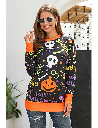 cheap HALLOWEEN 2020-Women's Daily Pullover Sweatshirt Scenery Basic Hoodies Sweatshirts  Black Green
