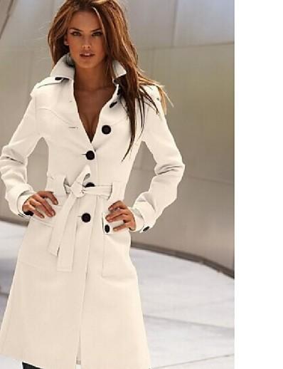 abordables Manteaux & Trenchs Femme-Femme Automne hiver Double Boutonnage Manteau Longue Couleur Pleine Quotidien basique Blanche Noir Jaune S M L XL