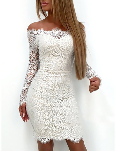 cheap Midi Dresses-Women's Sheath Dress Short Mini Dress - Long Sleeve Solid Color Lace Patchwork Fall Off Shoulder Elegant Hot Party 2020 White S M L XL