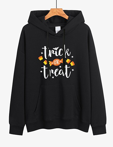 cheap HALLOWEEN 2020-Women's Halloween Pullover Hoodie Sweatshirt Letter Halloween Hoodies Sweatshirts  Loose White Black Red