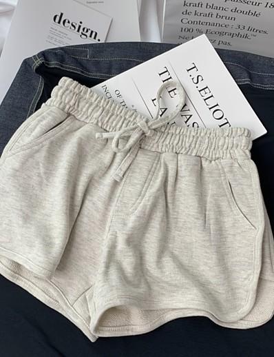 cheap Women's Shorts-Women's Basic Breathable Slim Daily Shorts Pants Solid Colored Short High Waist Black Light gray Dark Gray