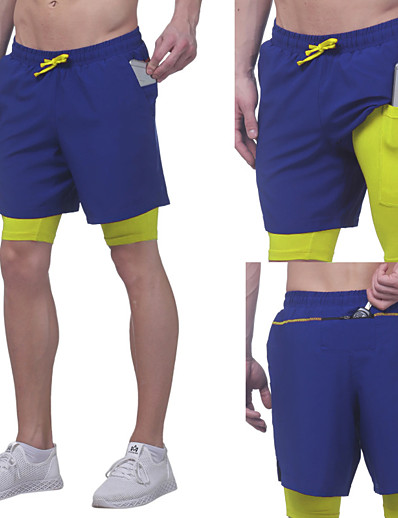 cheap Running, Jogging & Walking-Men's Running Shorts Athleisure Bottoms 2 in 1 with Phone Pocket Drawstring Fitness Gym Workout Performance Running Training Breathable Quick Dry Soft Normal Sport White Black Blue Grey