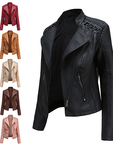 cheap Jackets-Women's Faux Leather Jacket Regular Solid Colored Daily Basic Black Red Blushing Pink Camel S M L XL