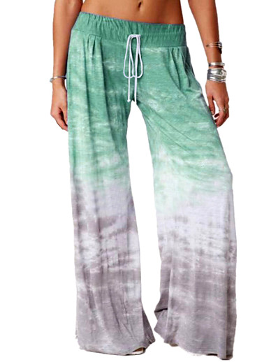 cheap Bottoms-Women's Basic Daily Wide Leg Pants Tie Dye Breathable Blue Purple Wine S M L