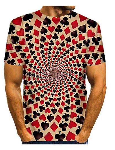 cheap Men's 3D-Men's T shirt 3D Print Graphic Optical Illusion Short Sleeve Daily Tops Basic Yellow