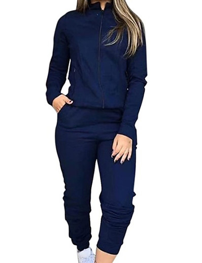 cheap JUMPSUITS & ROMPERS-Women's Basic Solid Color Two Piece Set Stand Collar Hoodie Pant Tops