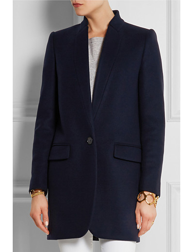 cheap OUTERWEAR-Women's Fall & Winter Single Breasted Stand Collar Coat Long Solid Colored Daily Basic Black Red Camel Navy Blue S M L XL