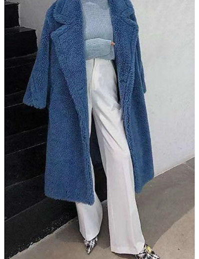 cheap Furs & Leathers-Women's Teddy Coat Fall Winter Spring Daily Long Coat Thermal Warm Regular Fit Casual Jacket Long Sleeve Quilted Print Blue Blushing Pink Light Brown