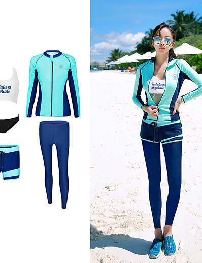 cheap SWIMWEAR-YOBEL Women's Rash Guard Dive Skin Suit Neoprene Diving Suit Quick Dry Full Body Front Zip - Swimming Diving Snorkeling Solid Colored Letter & Number Autumn / Fall Spring Summer