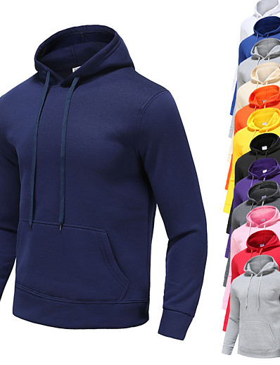 cheap Running, Jogging & Walking-Men's Long Sleeve Hoodie Sweatshirt Top Street Casual Winter Fleece Thermal Warm Breathable Soft Fitness Gym Workout Performance Running Jogging Sportswear Solid Colored Normal White Black Purple Red