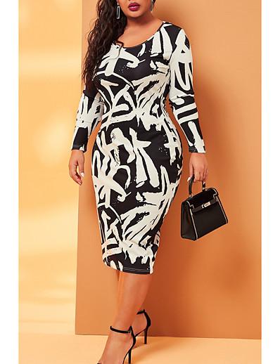 abordables Robes grandes tailles-Femme Robe Droite Robe Midi - Manches Longues Imprimé Patchwork Imprimé Automne Grandes Tailles Elégant Slim 2020 Noir XL XXL 3XL 4XL 5XL
