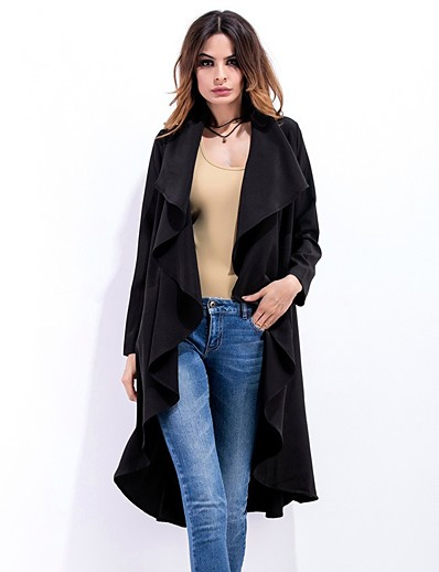 cheap OUTERWEAR-Women's Fall & Winter Shirt Collar Trench Coat Long Solid Colored Daily Basic Black Beige S M L XL