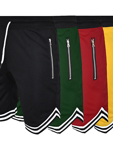 cheap Running, Jogging & Walking-Men's Running Shorts Athletic Shorts Bermuda Shorts Bottoms Drawstring Zipper Pocket Fitness Gym Workout Performance Running Training Breathable Quick Dry Soft Normal Sport Solid Colored Black