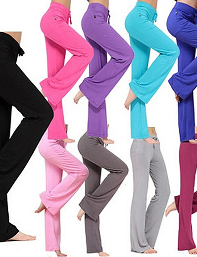 cheap Exercise, Fitness & Yoga-Women's Yoga Pants Drawstring Flare Leg Pants / Trousers Moisture Wicking Lightweight Solid Colored Purple Yellow Red Modal Zumba Pilates Dance Summer Plus Size Sports Activewear Stretchy Loose