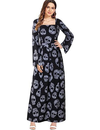 cheap HALLOWEEN 2020-Halloween Women's A-Line Dress Maxi long Dress - Long Sleeve Skulls Print Print Fall Square Neck Vintage Slim 2020 Black S M L XL XXL