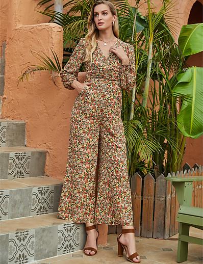 cheap Jumpsuits & Rompers-Women's Basic Sophisticated V Neck Rainbow Jumpsuit Floral Print / Wide Leg