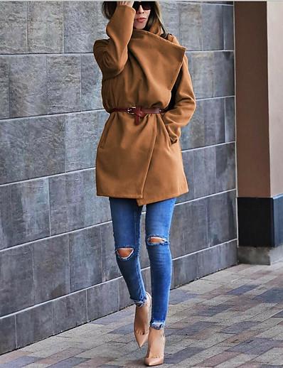 cheap OUTERWEAR-Women's Fall & Winter Shirt Collar Coat Long Solid Colored Daily Basic Wool Blue Khaki S M L XL / Loose