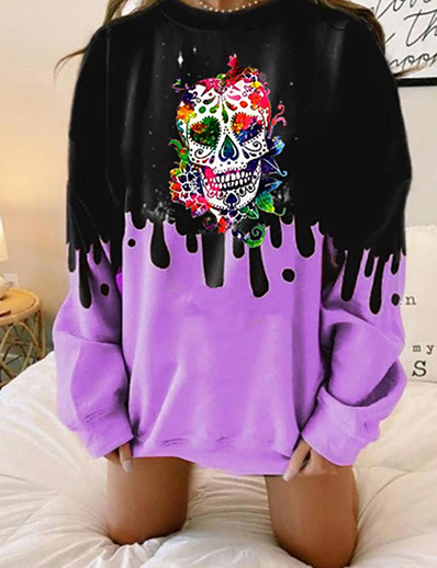 cheap Hoodies & Sweatshirts-Women's Pullover Sweatshirt Skull Daily Other Prints Basic Hoodies Sweatshirts  Blue Purple Blushing Pink