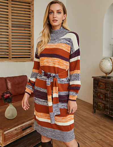 cheap White Dresses-Women's Sweater Jumper Dress Knee Length Dress - Long Sleeve Striped Patchwork Fall Winter Casual 2020 Rainbow S M L XL