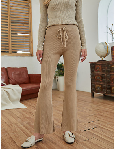 cheap Bottoms-Women's Basic Outdoor Slim Daily Bootcut Pants Solid Colored Full Length Drawstring Camel
