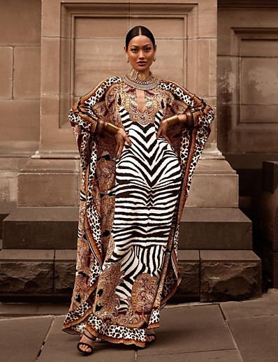 cheap Plus Size Dresses-Women's Sheath Dress Maxi long Dress - Long Sleeve Leopard Striped Print Fall Elegant Slim 2020 Brown One-Size