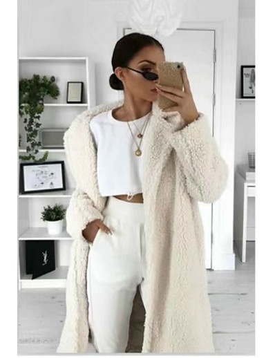 cheap Outerwear-Women's Coat Solid Colored Pocket Basic Fall & Winter Coat Long Daily Long Sleeve Polyster Coat Tops White