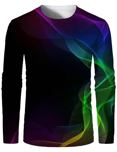 رخيصةأون 3D للرجال-رجالي تي شيرت قميص طباعة ثلاثية الأبعاد الرسم 3D طباعة قياس كبير طباعة كم طويل مناسب للبس اليومي قمم أنيق مبالغ فيه رقبة دائرية أسود