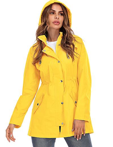 cheap Down& Parkas-Women's Parka Parka Solid Colored POLY Black / Blue / Yellow S / M / L