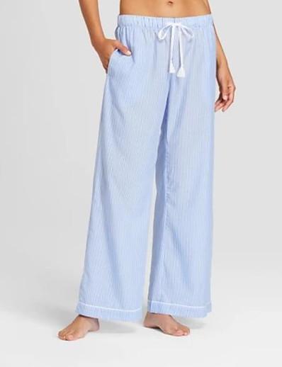 abordables Bas-Femme basique Respirable Mince Quotidien Intérieur Chino Pantalon Rayé Toute la longueur Bleu clair