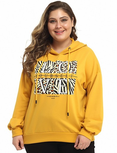 cheap Plus Size Tops-Women's Plus Size Daily Pullover Hoodie Sweatshirt Leopard Cheetah Print Basic Hoodies Sweatshirts  Yellow