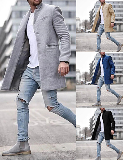 cheap Men's Outerwear-Men's Winter Overcoat Long Solid Colored Daily Long Sleeve Cotton Black Khaki Navy Blue Gray S M L XL / Work