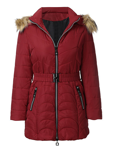 cheap Plus Size Outerwear-Women's Padded Parka Solid Colored POLY Black / Red / Khaki L / XL / XXL