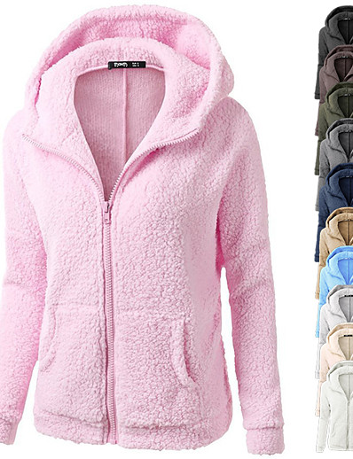 cheap Hoodies & Sweatshirts-Women's Zip Up Hoodie Hoodies Hoody Black White Blue Pink Full Zip Front Zipper Cowl Neck Hoodie Fleece Cotton Solid Color Cute Sport Athleisure Jacket Pullover Coat Outfits Long Sleeve Warm Soft
