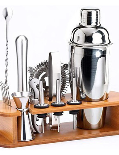cheap Home & Garden-Insulated Cocktail Shaker Bartender Kit Cocktail Shaker Mixer Stainless Steel 350ml Bar Tool Set with Stylish Bamboo Stand Perfect Home Bartending Kit and Martini Cocktail Shaker Set