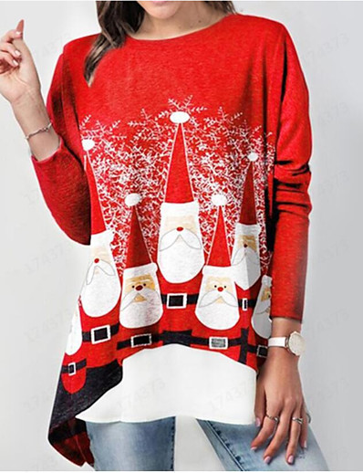 cheap Christmas Tops-Women's Christmas Plus Size Tunic Graphic Prints Long Sleeve Print Round Neck Tops Loose Elegant Christmas Basic Top Red