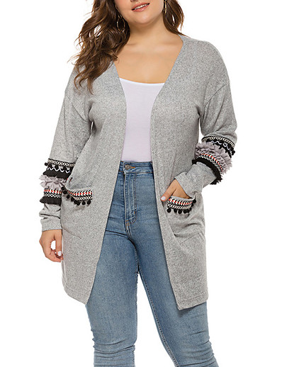cheap Plus Size Sweaters-Women's Basic Flounced Front Pocket Solid Color Cardigan Long Sleeve Loose Sweater Cardigans Open Front Fall Winter Black Blushing Pink Light gray