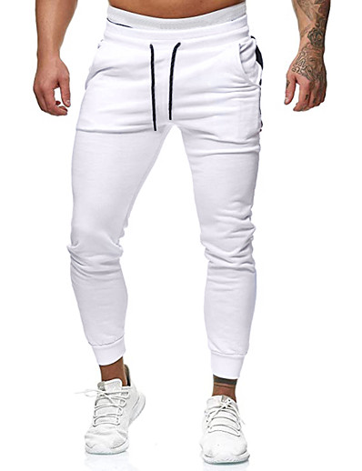 cheap Men's Bottoms-Men's Sports Slim Daily Sweatpants Pants Patterned Full Length White Black Red